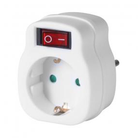 Adapter šuko utikač - šuko utičnica, sa prekidačem