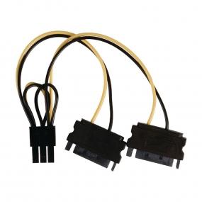 Kabl PC Napojni 6pol PCI express F - 2xNapojni SATA M, 0.15m