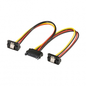 Kabl PC napojni SATA M - 2x napojni SATA F ugaoni, 0.2m