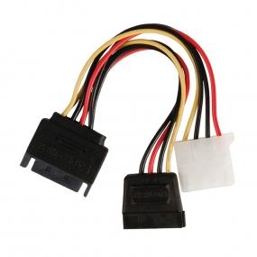 Kabl PC Napojni SATA M - Napojni SATA F + Napojni F, 0.15m
