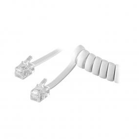 Kabl telefonski spiralni za slušalicu, 3m beli