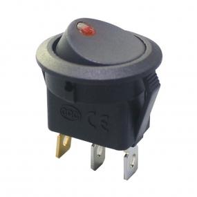 Prekidač wipp 16A/12V 1-pol okrugli crni sa crvenim, fi=21mm
