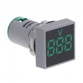 Voltmetar 29x29mm, 12-500V AC, zeleni